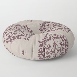 Deep Purple Gray Taupe Damask Scroll Pattern 2021 Color of the Year Epoch and Fondue Floor Pillow