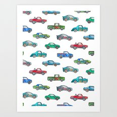 Little Toy Cars in Watercolor on White Art Print