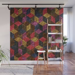 Colorful Isometric Cubes III Wall Mural