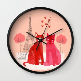 You're Purrfect - Two Cats in Paris Valentines Design featuring pink cats Wall Clock