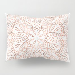 Rose Gold Mandala on Marble Pillow Sham