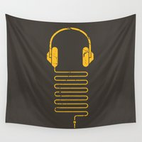 diablo Wall Tapestries featuring Gold Headphones by Sitchko Igor