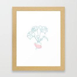 Minimal Monstera Framed Art Print