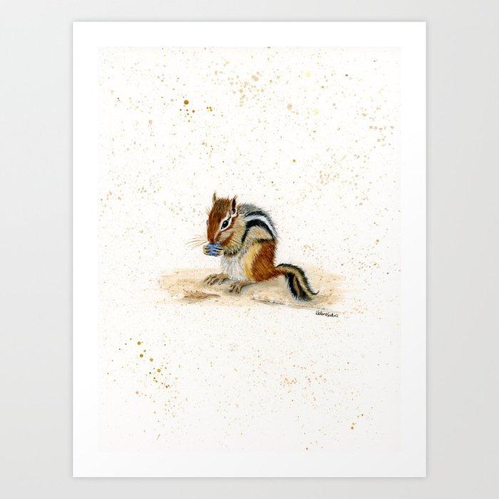 """Chippy"" Chipmunk - animal watercolor painting Art Print"