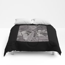 Black & White 1930's OLd Woman Pencil Drawing Photo Comforters