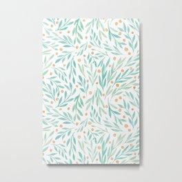 Leaves and Berries #2 | Green and Orange Palette Metal Print