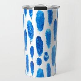 Watercolor feathers of blue bird Travel Mug