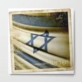 Israel grunge sticker flag Metal Print