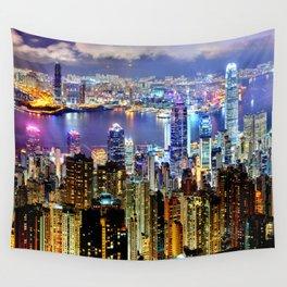 Hong Kong City Skyline Wall Tapestry