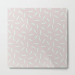 Pillow Fight, Mint on Rose Metal Print