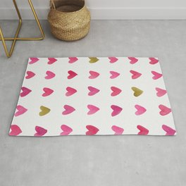 Watercolor Hearts - Pink, Red and Gold Rug
