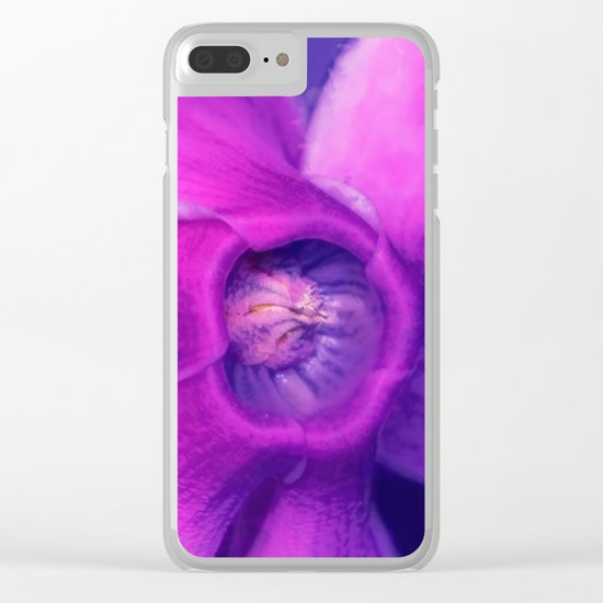 Blue, purple, pink cyclamen Clear iPhone Case