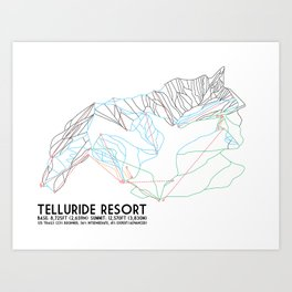Telluride, CO - Minimalist Trail Maps Art Print