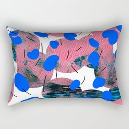 Collage with Blue Dots Rectangular Pillow