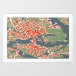 Stockholm city map classic Art Print