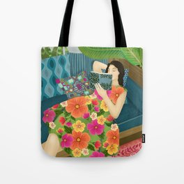 Women Who Read Are Dangerous- Woman reading plant filled room Tote Bag