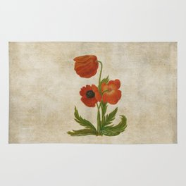 Vintage painting- Bunch of poppies Poppy Flower floral Rug