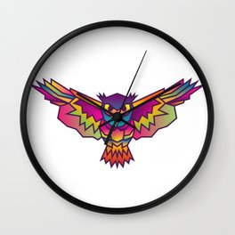 Geometric Owl Colored Wall Clock