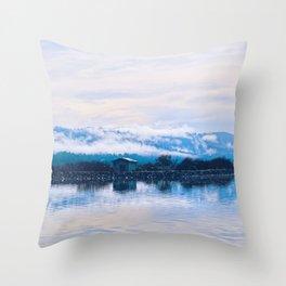 Foggy Humboldt Marsh Throw Pillow