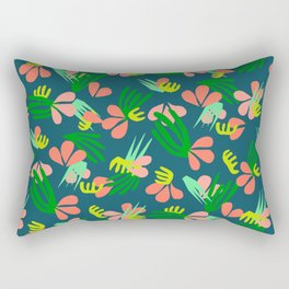 Henri's Garden in blue // tropical flora pattern Rectangular Pillow