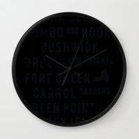 brooklyn Wall Clocks featuring Brooklyn by Juan Perez