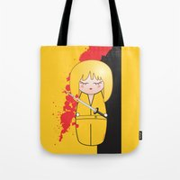 kill bill Tote Bags featuring Kokeshi Beatrix of Kill Bill by Pendientera