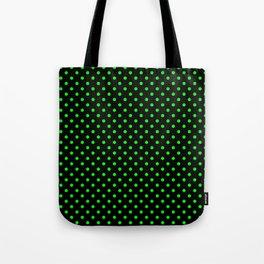 Polka dots Green dots over black Tote Bag