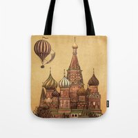 depeche mode Tote Bags featuring Trip to Moscow by Terry Fan