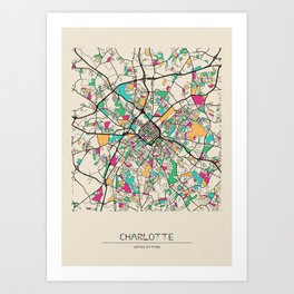 Colorful City Maps: Charlotte, North Carolina Art Print