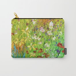 Multicolored flowers in the meadow. Sunny wildflowers in the floodplain of the river. Bright field. Carry-All Pouch