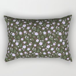 Lilac Flowers on Green - Floral Pattern Rectangular Pillow