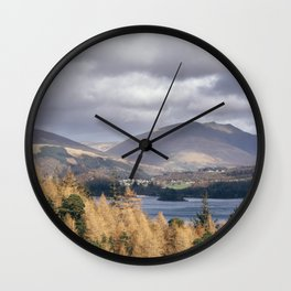 View over Derwent Water towards Blencathra. Cumbria, UK. Wall Clock