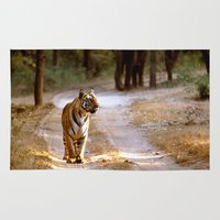 jeep Area & Throw Rugs featuring TIGER ON TRACK by Don Hooper