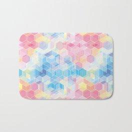 Hive: pink and blue hexagon pattern Bath Mat