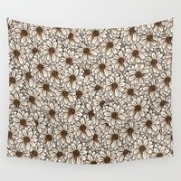 daisies Wall Tapestries featuring Daisies by Marta Li