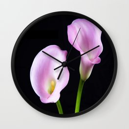 Dance Of Two Pink Calla Lilies Wall Clock