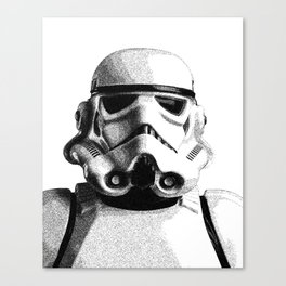 Stormtrooper Hand Drawn Dotwork - StarWars Pointillism Artwork Canvas Print