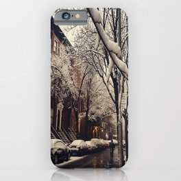 Photo of the beautiful Brooklyn Heights covered in icy snow iPhone Case