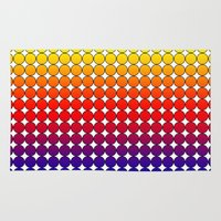 polka dot Area & Throw Rugs featuring Rainbow Dot Candy Polka dot by ForgottenCotton