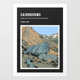Cairngorms Map Art Print