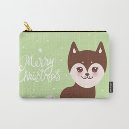 Merry Christmas New Year's card design funny brown husky dog, Kawaii face Carry-All Pouch