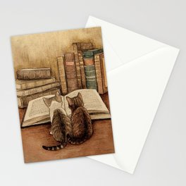 Kittens Reading A Book Stationery Cards