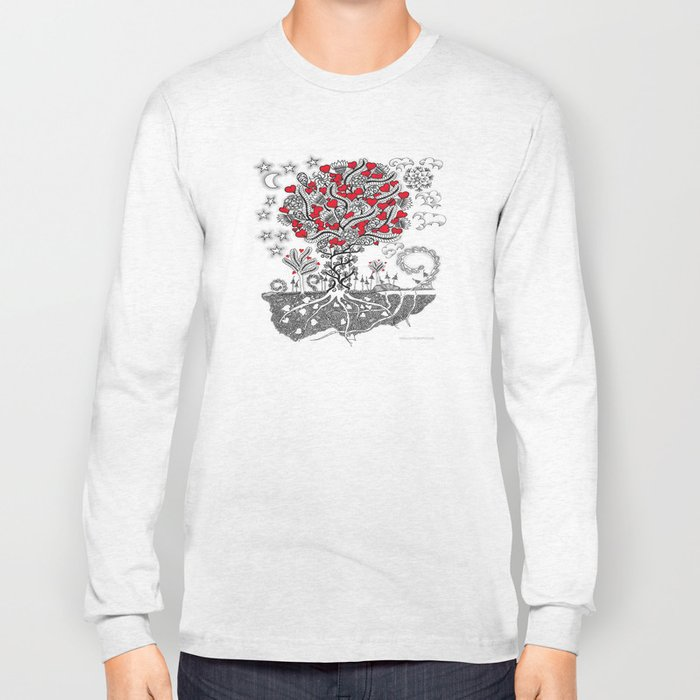 Zentangle Tree of Love - Illustration of Hearts and Love Long Sleeve T-shirt