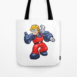 Cartoon plumber holding a big wrench. Tote Bag