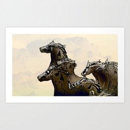 Silver Horses Art Print