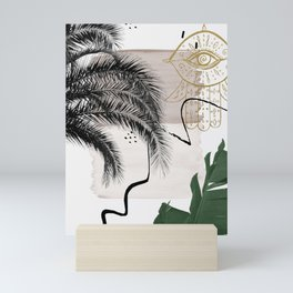 Banana Palms Hamsa Hand Abstract - Naturelle #1 #minimal #wall #decor #art #society6 Mini Art Print