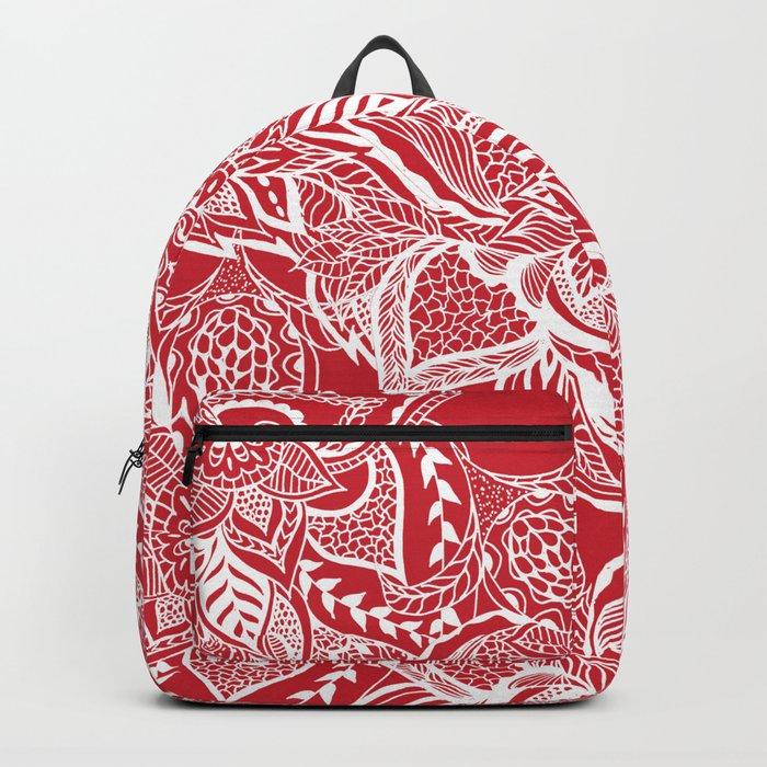 Modern red flame scarlet white hand drawn floral mandala pattern Backpack