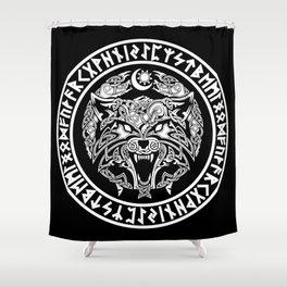 Viking Fenrir Emblem - Wolf Norse Mythology Shower Curtain