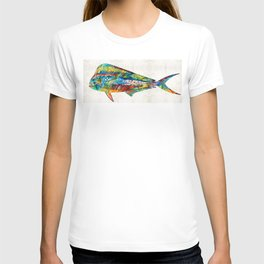Colorful Dolphin Fish by Sharon Cummings T-shirt