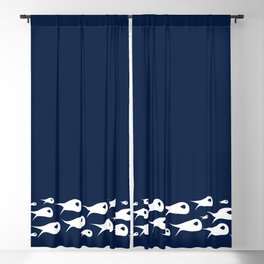 Fish Stripe 2. Minimalist Mid-Century Modern Fish School in White on Nautical Navy Blue Solid Blackout Curtain